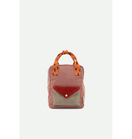 Sticky Lemon Small backpack corduroy | dusty pink + marmalade + carrot orange