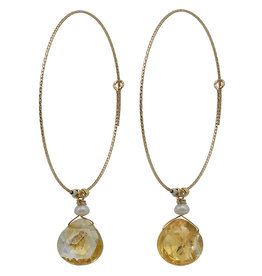 Pimps and Pearls Fruity Pearls Oorbellen 06 Citrine Party Gold