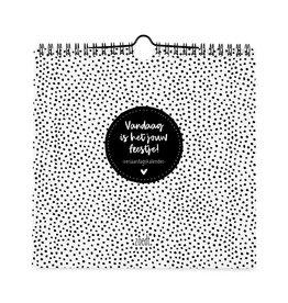 Zoedt Verjaardagskalender VIERKANT - Vandaag is het jouw feestje - zwart-wit