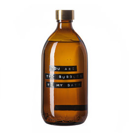 Wellmark Badzeep bamboe bruin glas messing dop 500ml 'you are the bubbles to my bath'