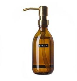 Wellmark Handzeep bamboe bruin glas messing pomp 250ml 'soap'