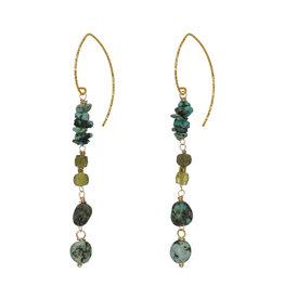 Pimps and Pearls Edelsteen Oorbellen Goud groen Turquoise Liberty Fruity Pearls