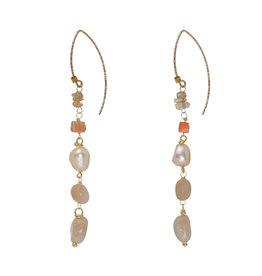 Pimps and Pearls Edelsteen Oorbellen Goud oranje Zonnesteen Liberty Fruity Pearls