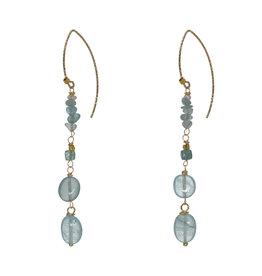 Pimps and Pearls Edelsteen Oorbellen Goud blauw Aquamarijn Liberty Fruity Pearls