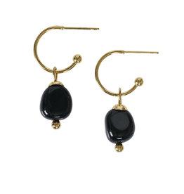 Pimps and Pearls Edelsteen oorbellen Onyx zwart goud Liberté