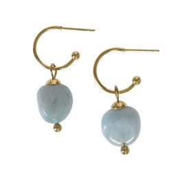 Pimps and Pearls Edelsteen oorbellen Aquamarijn blauw goud Liberté
