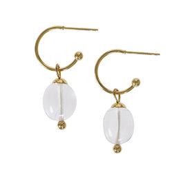Pimps and Pearls Edelsteen oorbellen Bergkristal wit goud Liberté