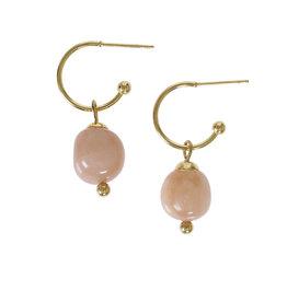 Pimps and Pearls Edelsteen oorbellen Maansteen roze goud Liberté