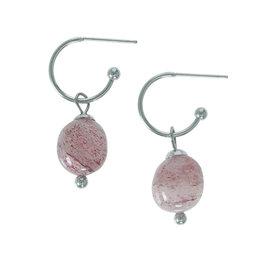 Pimps and Pearls Edelsteen oorbellen Aardbeikwarts roze zilver Liberté