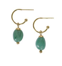 Pimps and Pearls Edelsteen oorbellen Aventurijn groen goud Liberté