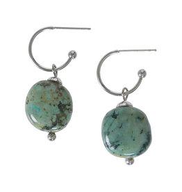 Pimps and Pearls Edelsteen oorbellen Turquoise groen zilver Liberté