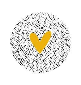 Zoedt Muurcirkel (buiten) dots en okergeel hart - 20cm