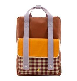 Sticky Lemon Sticky Lemon Backpack Large - Gingham - Chocolate sundae - Daisy yellow - Mauve lilac