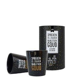 100% Leuk Koker - Koffiemokken - Spreken is zilver bijkletsen Goud