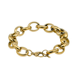 Pimps and Pearls Armband Edelstaal - Grove ovaalschakel goud