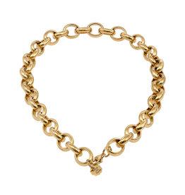 Pimps and Pearls Ketting Edelstaal Kort - Ovaalschakel goud