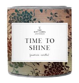 The Gift Label Grote geurkaars in blik - Time to Shine - Jasmijn Vanille