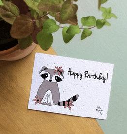 BLOOM your message Kaart met bloemzaadjes - racoon birthday