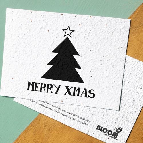 BLOOM your message Kaart met bloemzaadjes - Xmas tree