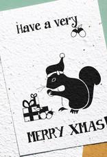 BLOOM your message Kaart met bloemzaadjes - Xmas squirrel