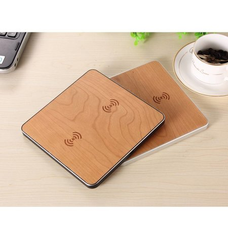 Houten Dual Draadloze Oplader Pad (voor 2 smartphones)