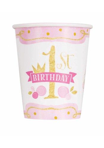 1st Birthday pink & Gold bekertjes 250ml - 8 stuks