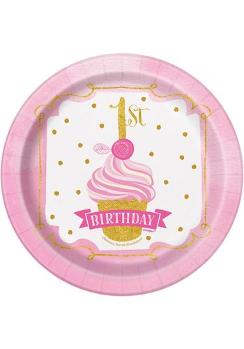 1st Birthday pink & Gold bordjes 18cm - 8 stuks