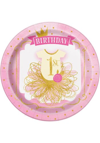 1st Birthday pink & Gold bordjes 23cm - 8 stuks