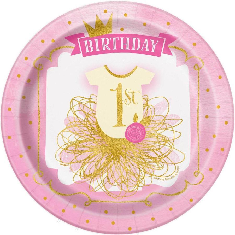 1st Birthday pink & Gold bordjes 23cm - 8 stuks-1