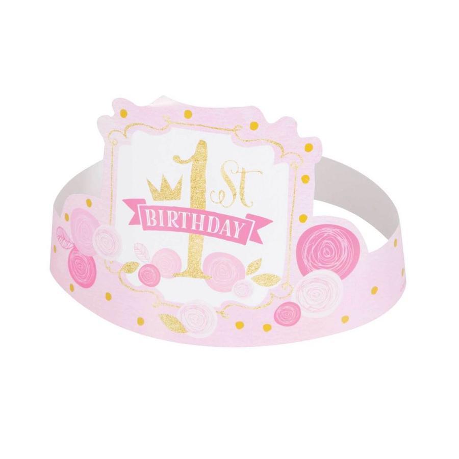 1st Birthday pink & Gold hoedjes - 6 stuks-1