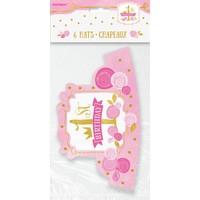 thumb-1st Birthday pink & Gold hoedjes - 6 stuks-2