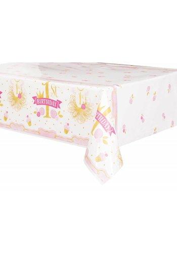 1st Birthday pink & Gold tafelkleed 140x214cm