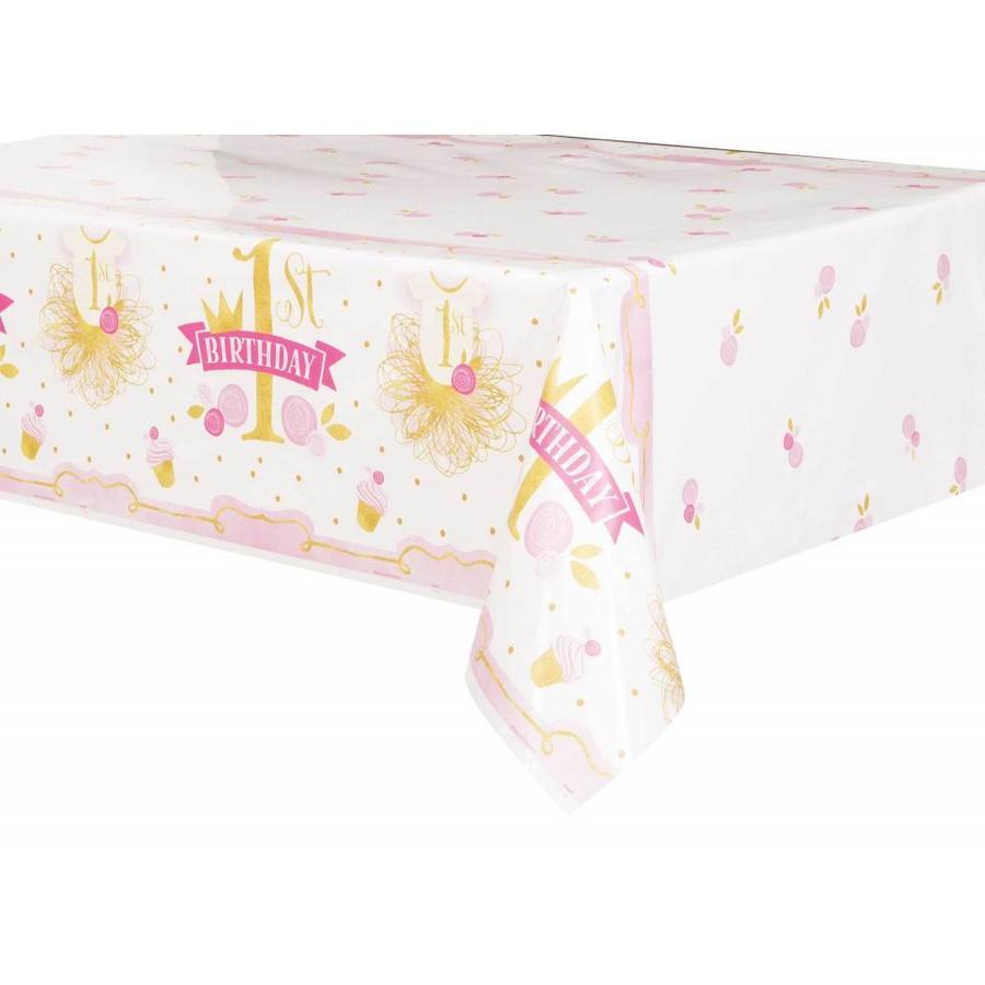1st Birthday pink & Gold tafelkleed 140x214cm-1