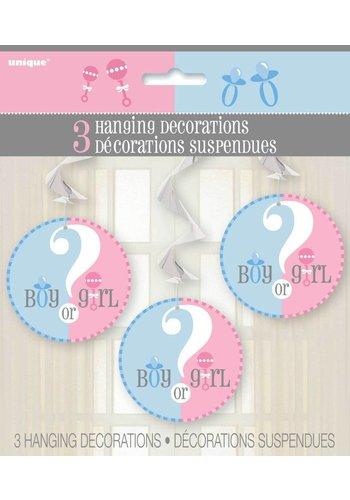 Gender Reveal swirl decoratie 66cm - 3 stuks