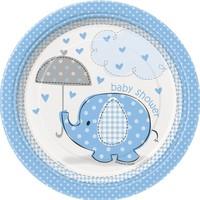 Babyshower olifantje boy bordjes 18cm - 8 stuks