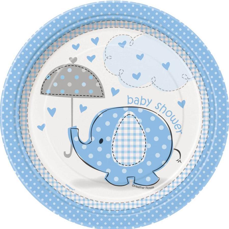Babyshower olifantje boy bordjes 18cm - 8 stuks-1