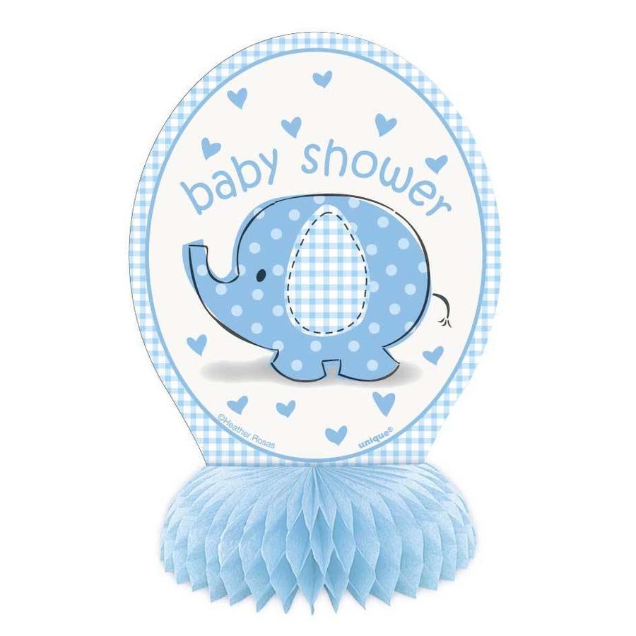Babyshower olifantje boy tafeldecoratie 15cm - 4 stuks-1