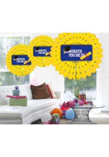 "Honeycomb Fan ""Congrats You Did It"" - 45cm"