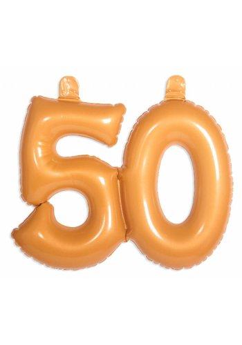 Opblaasbare cijfers 50 Goud - 35cm