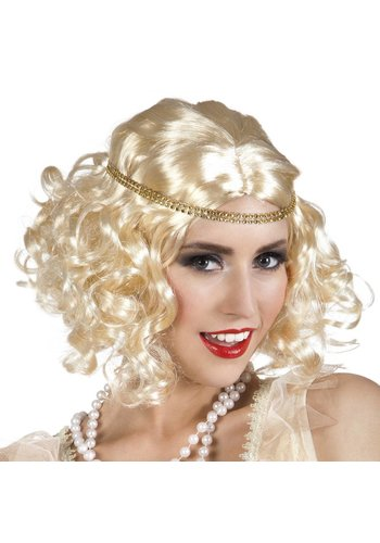 Pruik Flapper met Hoofdband - Blond