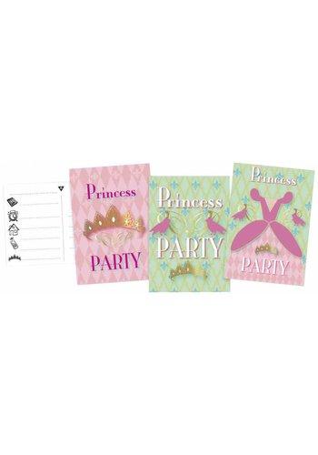 Prinsessen uitnodigingen - 6 stuks