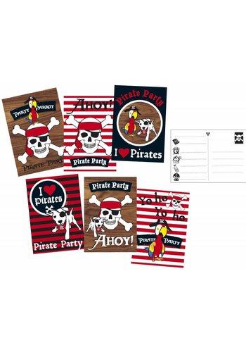 Piraten uitnodigingen - 6 stuks