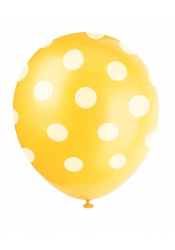Ballonnen Dots Geel - 30cm - 6 stuks