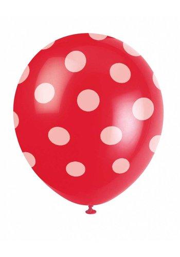 Ballonnen Dots Rood - 30cm - 6 stuks