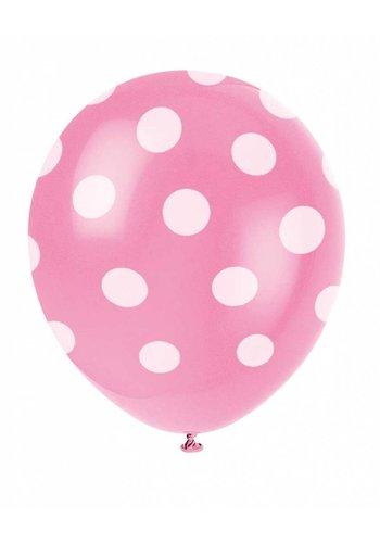 Ballonnen Dots Hot Pink - 30cm - 6 stuks