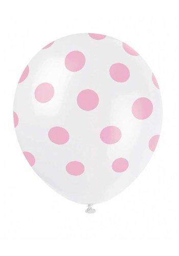 Ballonnen Dots Wit/Roze - 30cm - 6 stuks
