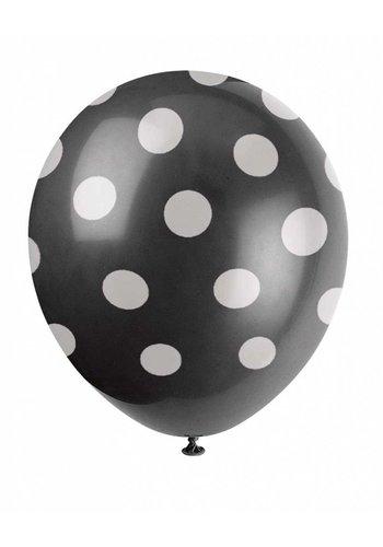 Ballonnen Dots Zwart - 30cm - 6 stuks