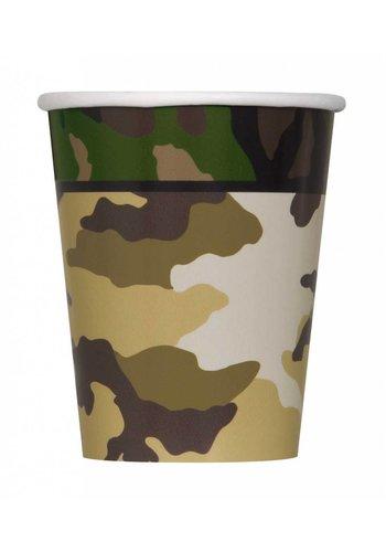 Camouflage bekertjes 250ml - 8 stuks