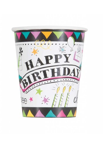 Doodle Birthday bekertjes 250ml - 8 stuks