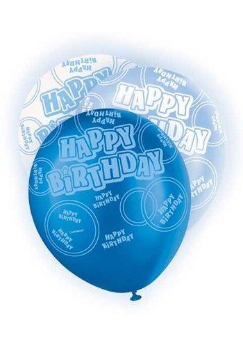 Blue Glitz ballonnen - 6 stuks